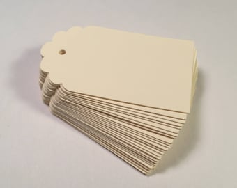 Die Cut, Hang Tags, Cream Blank Tags, Boutique Tag, Gift Tag, Retail Tag, 110 lb Card Stock CP-1205