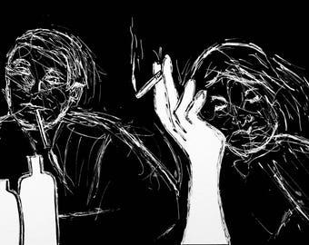 Smoker Scribblers Ink Drawing Print