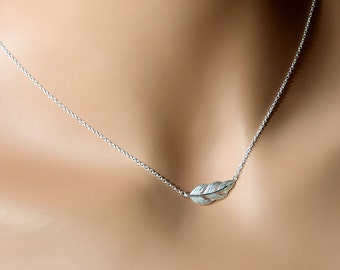All Sterling Silver Sideways Feather  Necklace, Dainty Nature Jewelry
