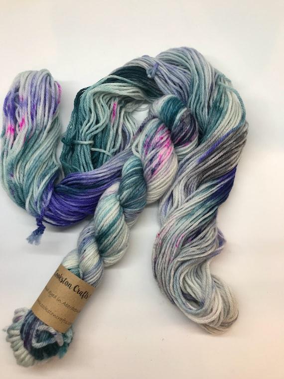 Hokey Cokey - 50g 100% Superwash Merino DK double knit yarn, hand dyed in Scotland, variegated, teal, blue, navy, pink