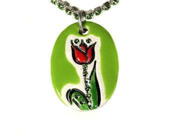 Tulip Sparkle Surly Necklace with Swarovski Crystals in Light Green