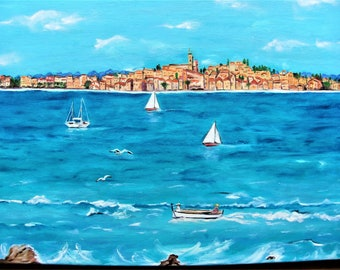 Oil painting in the knife,Art and collections,Paintings,sea,original painting,présents for him,Boats,Painted seascapes,Blue Painting