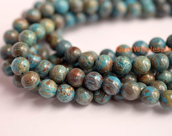 "15.5""4mm/6mm Turquoise blue Calsilica jasper round beads,semi precious stone,blue brown gemstone beads, Blue Sky Jasper beads"