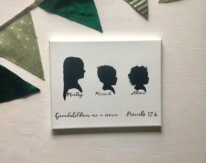 Custom Hand Drawn Hand Painted Hand Lettered Silhouettes on Canvas, Silhouette Portrait, Mothers Day Gift, Custom Silhouette