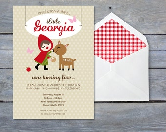 LITTLE Red Riding Hood Birthday Invitation - Print Your Own - Personalized Printable file 7x5