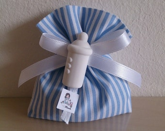 Temporarily UNAVAILABLE-Set of 20 bags Blue Stripes-wedding favors