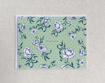 Floral Thank You Note Cards - Green 8 pcs