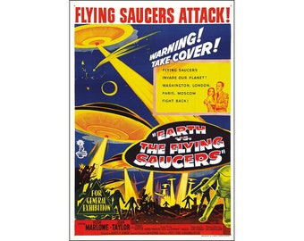 Earth vs. The Flying Saucers Movie Poster Print - 1956 Sci-Fi - 1 Sheet Artwork