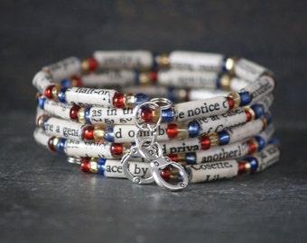 Les Misérables bracelet, Les Misérables jewelry, book jewelry, Les Misérables bracelet, book lover gift, recycled book jewelry, paper bead