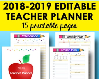 Teacher Planner 2018-2019, Editable Lesson Planner Printable, Academic Planning, Teacher Planners Editable Homeschool Plan, Instant Download