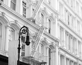 New York Photography Print, NYC Photo, Black and White Wall Art Print, Bedroom Wall Decor, Manhattan Buildings, Picture Soho, New York City