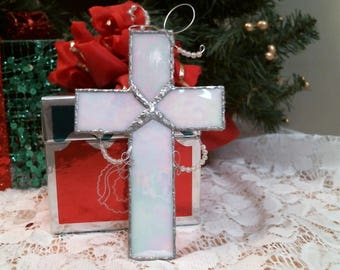 WHITE Iridescent stained glass CROSS w beads suncatcher or ornament