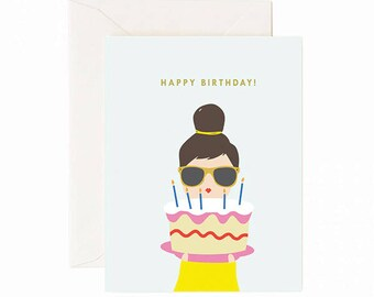 Cake lady Birthday greeting card