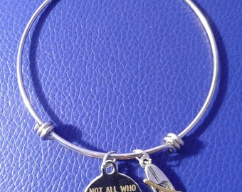 Not all who wander are lost bangle with kayak.
