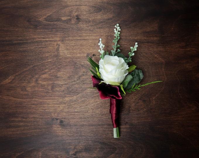 White burgundy Boho wedding boutonniere greenery ferns artificial silk flowers realistic groom groomsman flowers elegant
