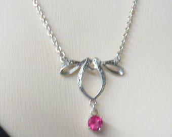 Rosa Topas Halskette - Topaz und Sterling Silber Halskette - sehr feminin Bogen & rosa Topas Halskette