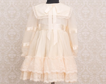 Martha's Miniatures Girls Ivory Lace Ruffle Dress