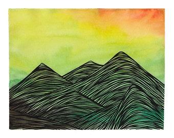 Summer Sunrise Mountain Range Art Print, Mountains Wall Art, Watercolor Art Wall Decor, Mountain Print, Watercolor Print, Abstract Landscape