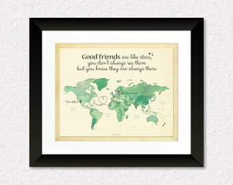 Long Distance Friendship Gift, Gift for Good Friends, Moving Away Gift, Birthday Gift Idea, Military Friends Gift, Custom World Map Art