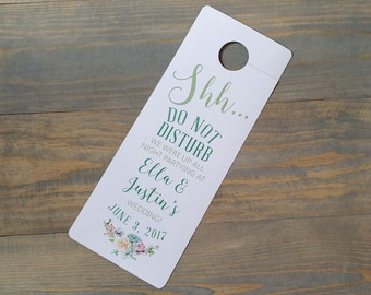 Succulent Wedding Do Not Disturb Door Hanger, Mint Hotel door hanger, Wedding sign, door hangers for wedding welcome gift, door knob tag