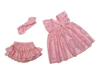 Free shipping to US and PR,pink clothing set,pink bloomer,gold dots outfit,pink top,baby clothing,pink outfit
