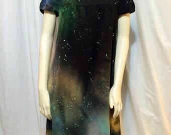 Women's Cap Sleeve Smock Galaxy Dress, Medium