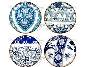 ASIAN BLUE PORCELAIN (4) Circles 2.5 inch - 63mm - Pocket Mirrors - Buy 3 Get 1 Extra Free - Digital Collage Sheet  - Instant Download