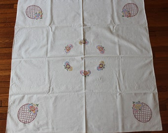 Vintage tablecloth, hand embroidered, SALE