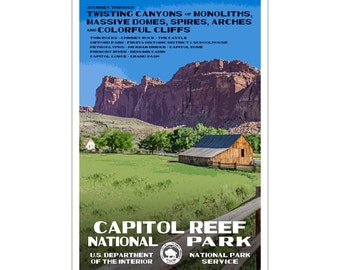 "Capitol Reef National Park WPA style poster. 13"" x 19"" Original artwork, signed by the artist. FREE SHIPPING!"
