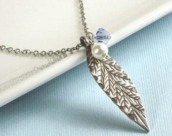Sterling Silver Leaf Necklace - Pearl Necklace, Leaf Jewelry, Botanical Jewelry, Garden Necklace