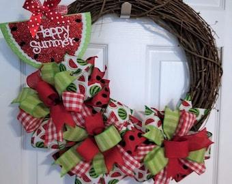 Watermelon Wreath, Summer Wreath, Spring Wreath, Mother's Day, Spring Decor, Grapevine Wreath, Front Door