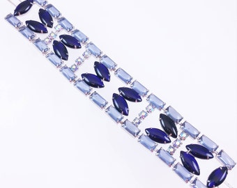 Navy Blue Glass Bracelet, Flat Panel Rhinestone Bracelet, Blue Aurora Borealis Bracelet, 1950's Bracelets, Something Blue