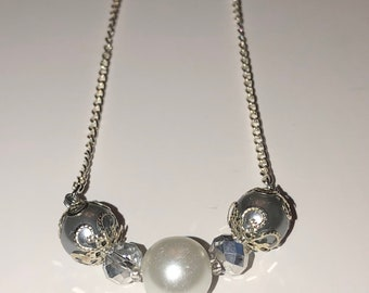 Grey and silver pearl necklace