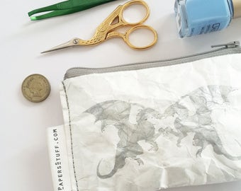 Dragon print, silver print, small purse, special gift, trendy gift, eco-friendly wallet, go vegan gift, under 14 USD, for him, zipper purse
