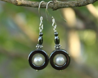 Dangle Earrings, Hematite, Fresh Water Pearls & Sterling Silver Earrings
