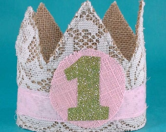 Shabby Chic burlap birthday crown, pink, gold, girl crown, A094 first birthday photo prop