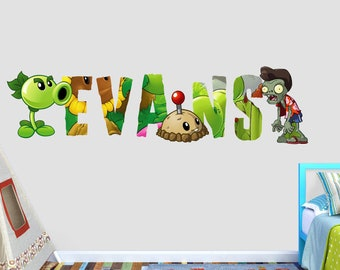Plants vs Zombies Custom Name 3D Personalized Wall Decal Sticker - Kids Wall Decor - Art Vinyl Wall Decal - VIC55