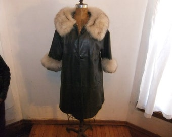 1960's Fur Trim Leather Jacket with  Three Quarter Sleeves