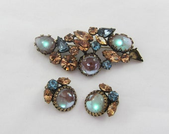 Signed Regency Demi-Parure Sappharine Large Brooch Pin & Matching Clip Earrings- as it is