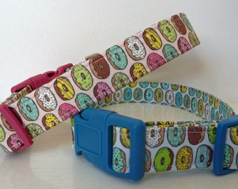 "Donuts Dog Collar-Summer Dog Collar - Donuts on Pink or Donuts on Blue - Boy/Girl Dog Collar-""MMM Good""-Free Colored Buckles"