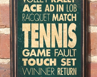 Tennis Wall Art Sign Plaque Gift Present Home Decor Vintage Style Custom Color Lob Service Deuce Love Volley Rally Winner Antique