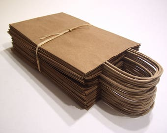 "30 Tall Paper Bags With Handles. 14"" Tall X 8 3/4"" Wide X 6"" Deep Natural Kraft Shopping Bags. Eco-Friendly, Serrated Top."