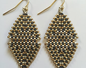 Beaded Lulu Earring in Charcoal, Champagne, and Gold