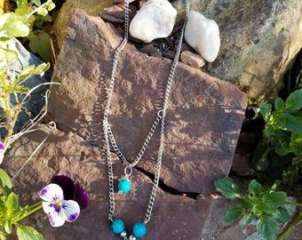 Upcycled Turquoise Multi-strand Necklace