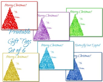 Printable Christmas Gift Tags, Set of 6, Christmas Sparkly Trees, Instant Download