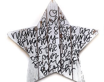 Wooden Distressed 'O Holy Night' Hand Lettered Star Christmas Sign