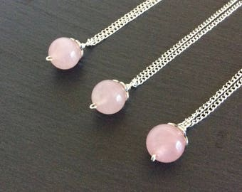 rose quartz necklace, pink necklace, rose quartz jewelry, rose quartz pendant, rose quartz stone, crystal necklace, rose quartz