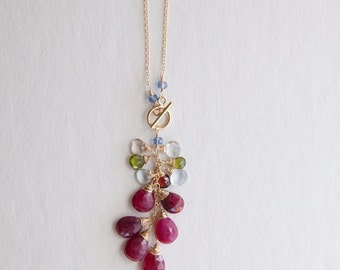 Ruby and Mix Gemstones Necklace
