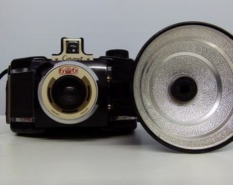 Vintage Coronet Flash Flashmaster - 6x6 120 Film Camera - With Add On Flash Gun - 1950s - With Protective Casing
