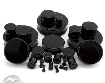 Black Obsidian Stone Plugs - (8 Gauge up to 2 Inches) NEW!